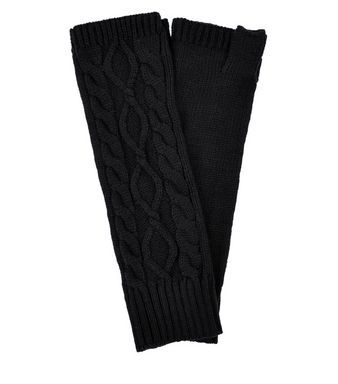 Black Cable Knit Handwarmers | New Look