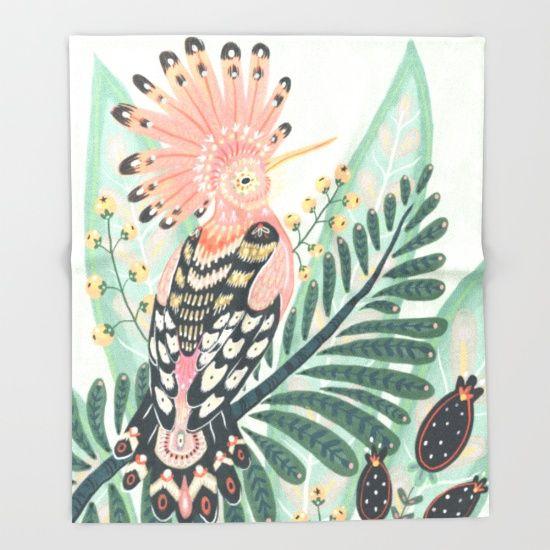 Hoopoe Bird throw blanket by Angela Rizza. $49. https://society6.com/product/hoopoe-y9w_throw-blanket?curator=bestreeartdesigns