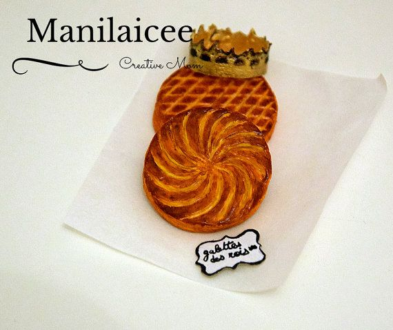 Dollhouse miniature food french pastry for Epiphany by Manilaicee