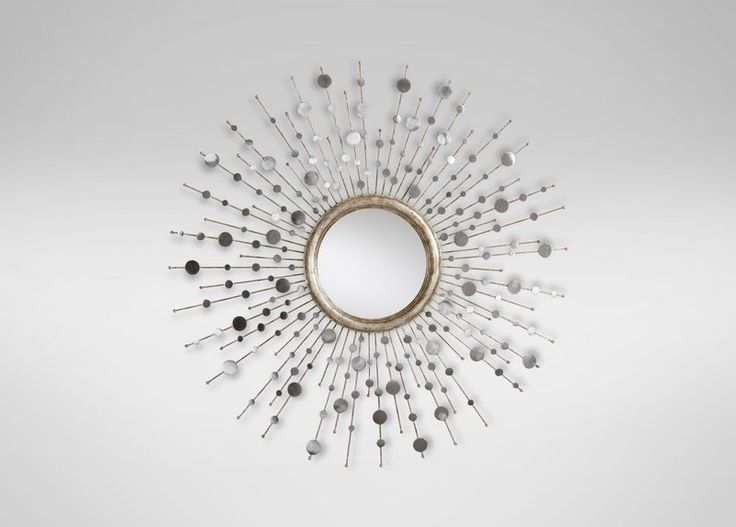 Silver Toned Soleil Mirror.  Studded with brushed, silvery discs, rays of varying lengths reach out from the round mirror in the middle, adding brilliance to any room. Shop at the Ethan Allen of Orland Park, IL. design center.