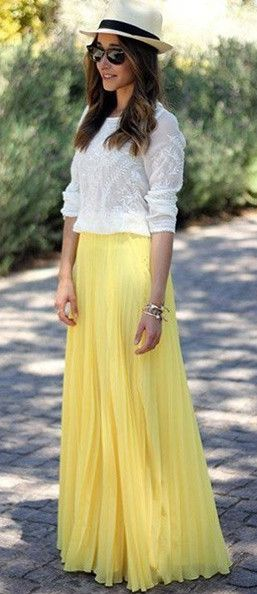 Pure Color Chiffon Pleated Big Long Skirt