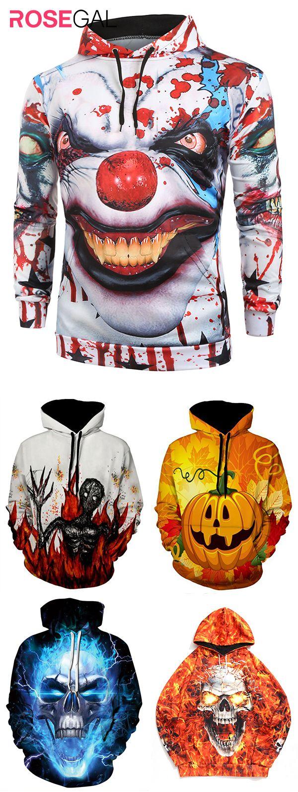 Rosegal mens sweatshirts Halloween pattern print hoodie ideas – Christian Makolla