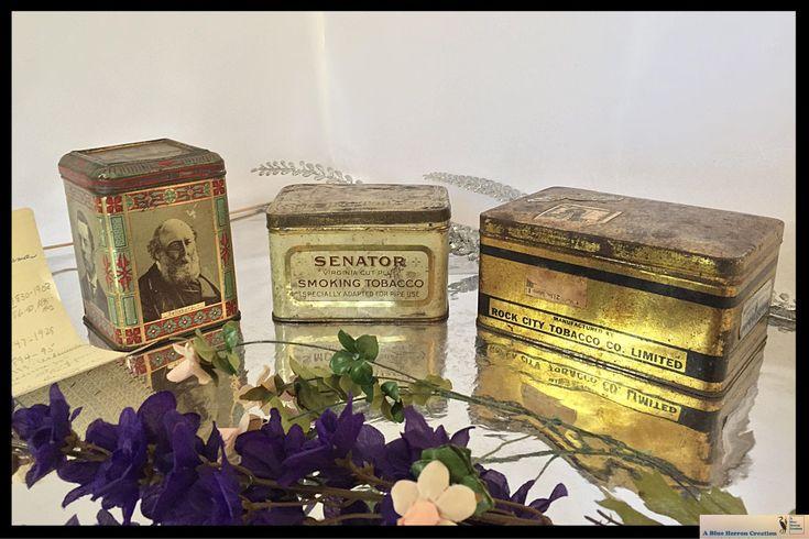Antique British Parliament Commemorative Tin, Canadian Smoking Pipe Chewing Tobacco Tins, King George's Navy Rock City- Senator Smoking Tins