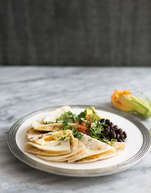 Squash Blossom Quesadillas ~ Mexican classic—Quesadillas with summer squash blossoms, Quesadillas de flor de calabazas ~ SimplyRecipes.com