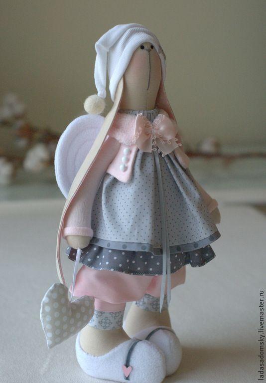 Купить Зайка -девочка ангелочек Daniella - 38 см - бледно-розовый, нежно-розовый