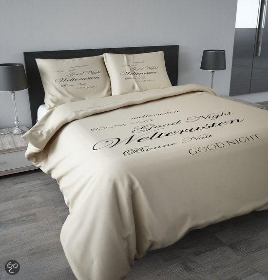 Sleeptime Dekbedovertrek Welterusten Zwart Créme - 140x200/220 - Crème + Incl. 1 kussensloop 60x70