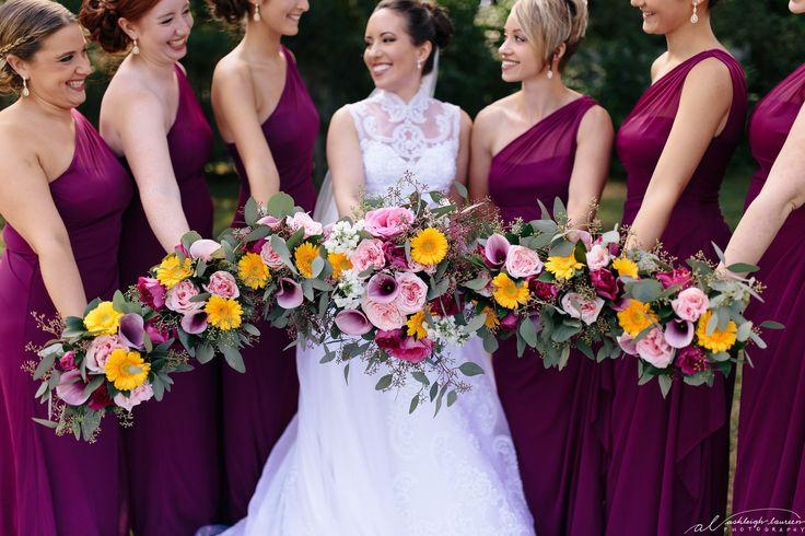 www.ashlaureenphoto.com summer wedding sangria color dresses. #bridesmaid #bridesmaiddresses #sangriadresses #sangriagold #wedding #summerwedding #brightflowers #summerweddingboquet
