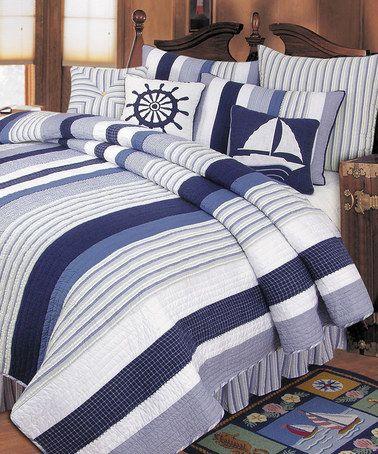 Loving this Blue & White Stripe Quilt on #zulily! #zulilyfinds