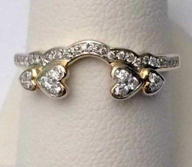 Yellow Gold Diamonds Heart Solitaire Wrap Ring Guard Enhancer-RG331468211068