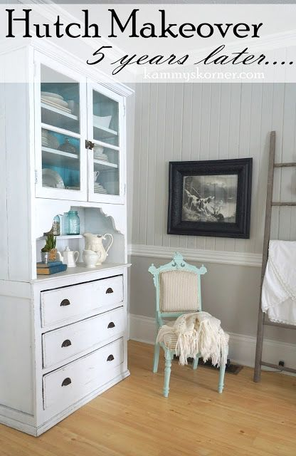 Kammys korner white hutch with a pop of color distressed white with turquoise aqua
