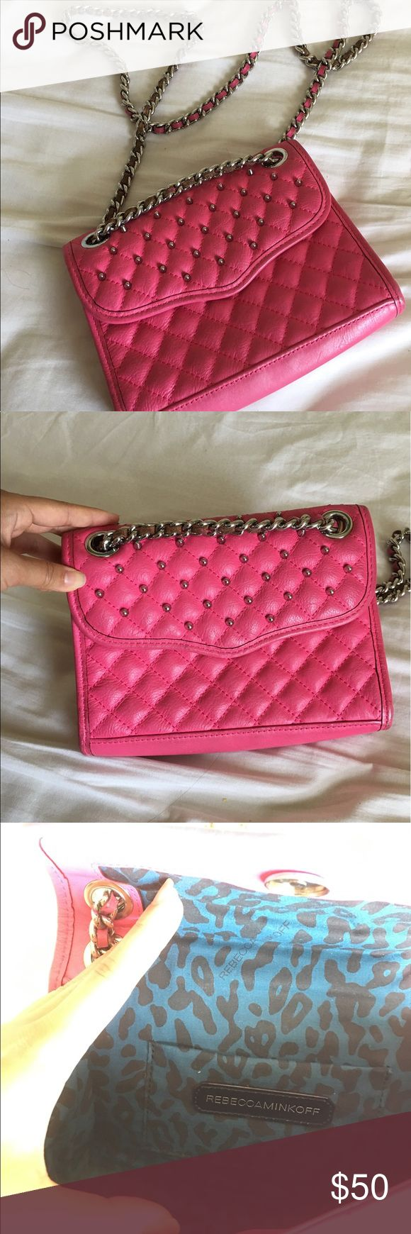 Rebecca Minkoff Mini MAC studded This rock-star inspired, HOT pink chic Mini Mac is perfect for going out. It has normal wear on it but looks very new. All of the studs are attached and it's ready for going out! 💃🏻 Rebecca Minkoff Bags Mini Bags