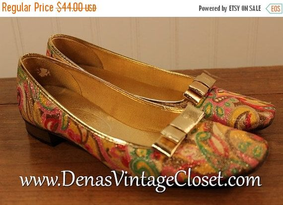50% OFF New Years Sale Vintage 60s Lady Cannon Psychedelic Gold Metallic Slippers Flats Shoes Slides sz 6M