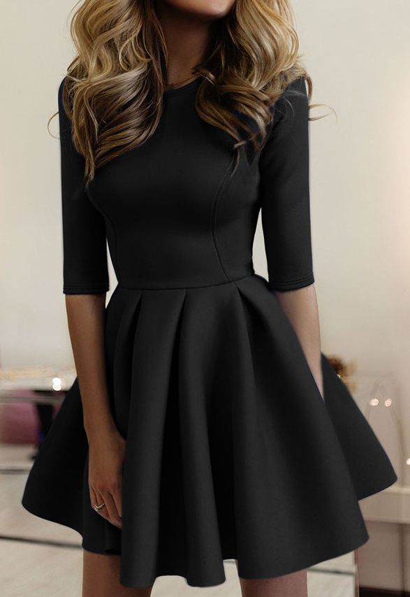 black plain pleated round neck fashion mini dress - Dress Design Ideas