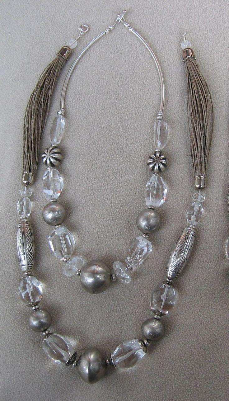 cristallo di rocca, peltro, corda di lino - Marina Caproni