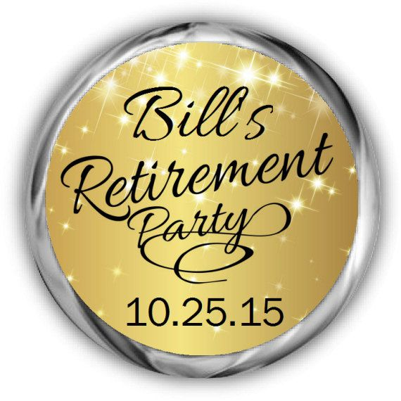 Gold Retirement Stickers   Personalized by AnnounceItFavors