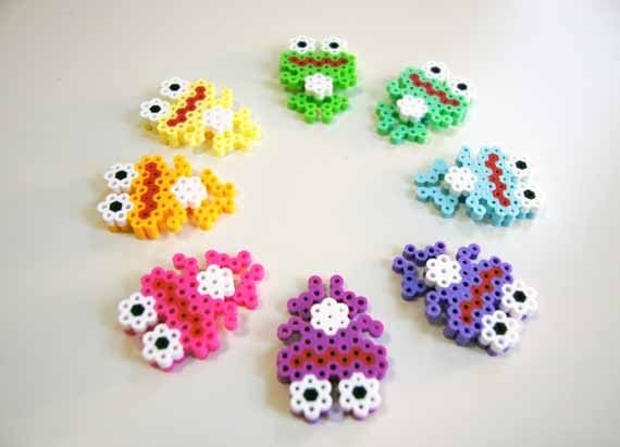 Keychain colorful frogs perler beads