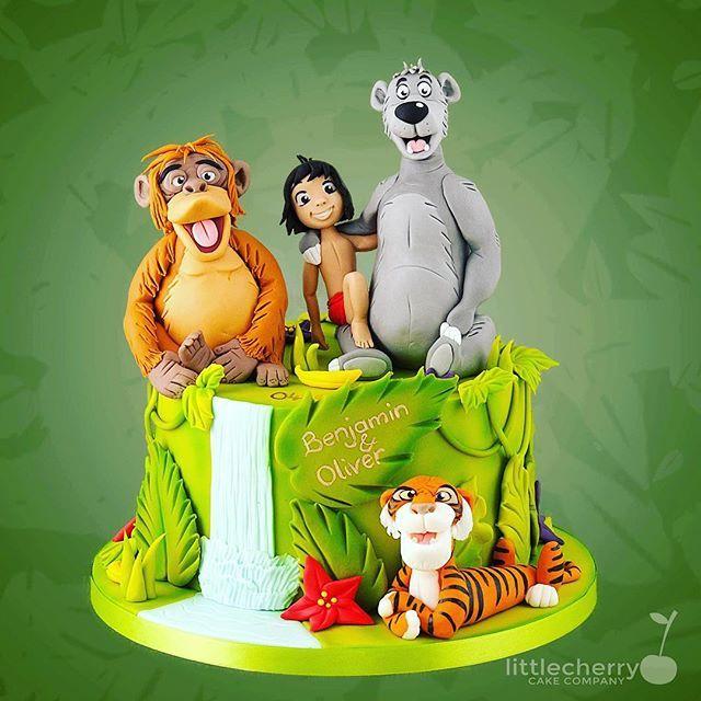 Christening cakes don't have to have booties and blocks on!! #junglebook #christeningcake #cherrycakeco #cake #instacake #mowgli #baloo