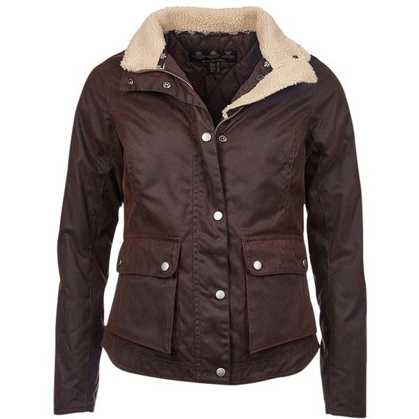 Barbour Cushalt Waxed Jacket, Rustic (€220) ❤ liked on Polyvore featuring outerwear, jackets, red jacket, barbour jacket, barbour, waxed jackets and collar jacket