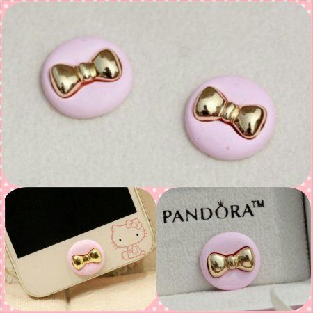 Matte Pink Gold Bow Kitty Home Button Samsung