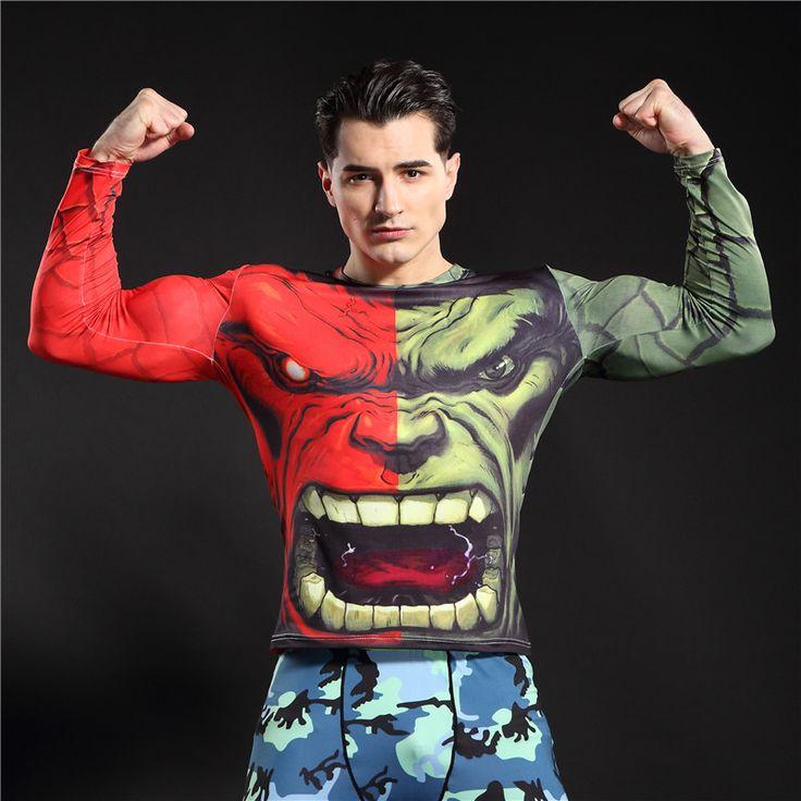 Newest Hulk Superman Batman Compression Base Layer Tights Men Thermal Long Sleeve Tee Shirts T Shirt Fitness