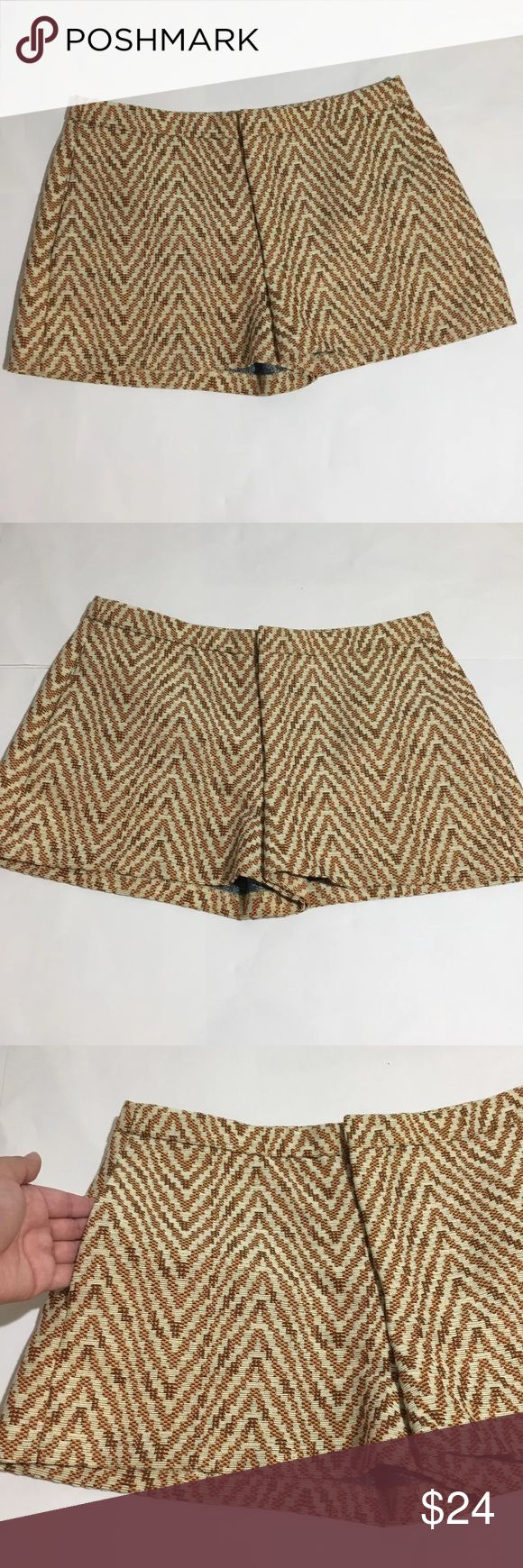 """Zara Woman Tapestry Chevron Brown Yellow Shorts M Zara Woman yellow, brown Tapestry Chevron print shorts with pockets. Size M. 15"""" waist laying flat, 11.5"""" waist to hem. Excellent condition no flaws Zara Shorts"""