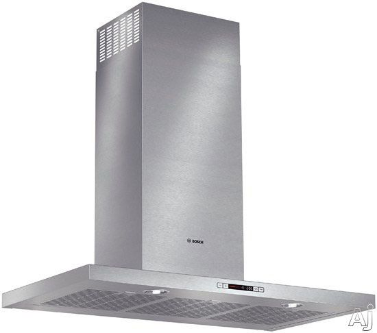 Bosch HCB56651UC Wall Mount Chimney Range Hood with 600 CFM Internal Blower, 4-Speed Touch Controls, Heat Sensor, Built-in Timer, Halogen Lights and Non-Ducted Option: 36 Inch Width