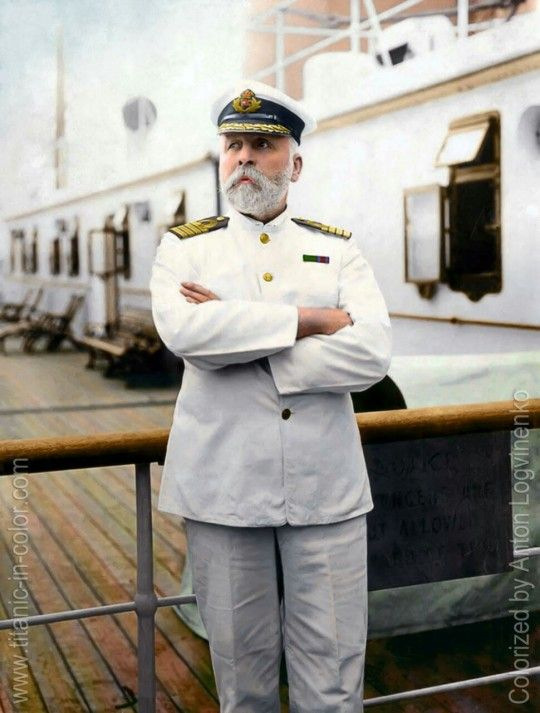 Captain E.J. Smith. Captain of the RMS Titanic. Colorized by Anton Logvinenko.