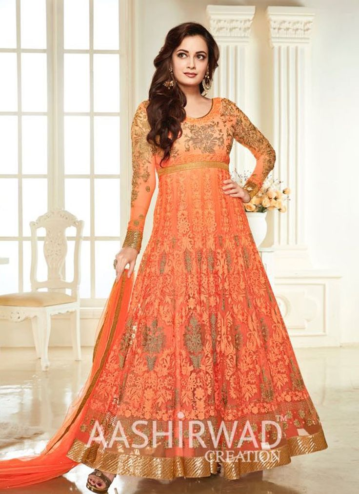 buy saree online Dia Mirza Orange Colour Georgette and Net Designer Suit Buy Saree online - Buy Sarees online