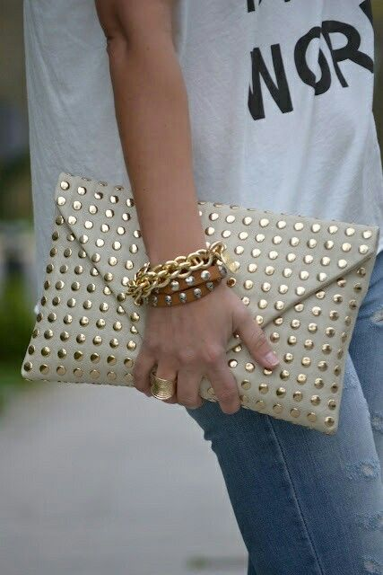 Dying gold studded clutch