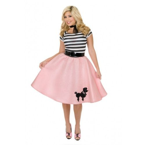 #01904 Add the Poodle Skirt to a 1950's look this Halloween. The Poodle Skirt showcases a bell skirt with black elastic waistband and poodle applique embellishment. The skirts are available in pink, r