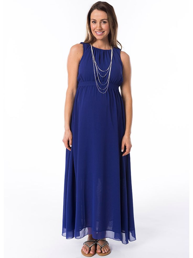 Blue Lagoon Maxi Breastfeeding Dress from breastmates.co.nz -- A favourite style that wisps down to your ankles. Suitable for pregnancy and breastfeeding, with nursing openings concealed in the pleated bodice.