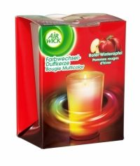 Air Wick Multicolour Scented Candle Red Apple Air Wick´s Colour Change Candle is infused with essential oils that smell delightfully fragrant when lit. As the candle burns, the fragrance is complimented by a soft and tranquil glow that starts to illuminate through the wax, creating a soft, changing rainbow effect. The fragrance and light work together to create a captivating atmosphere in your home.