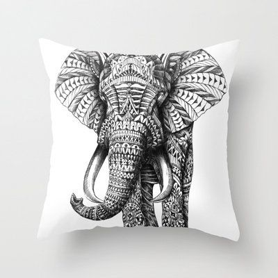 Ornate Elephant Throw Pillow by BioWorkZ | Society6 http://wanelo.com/p/3027909/ornate-elephant-throw-pillow-by-bioworkz-society6#