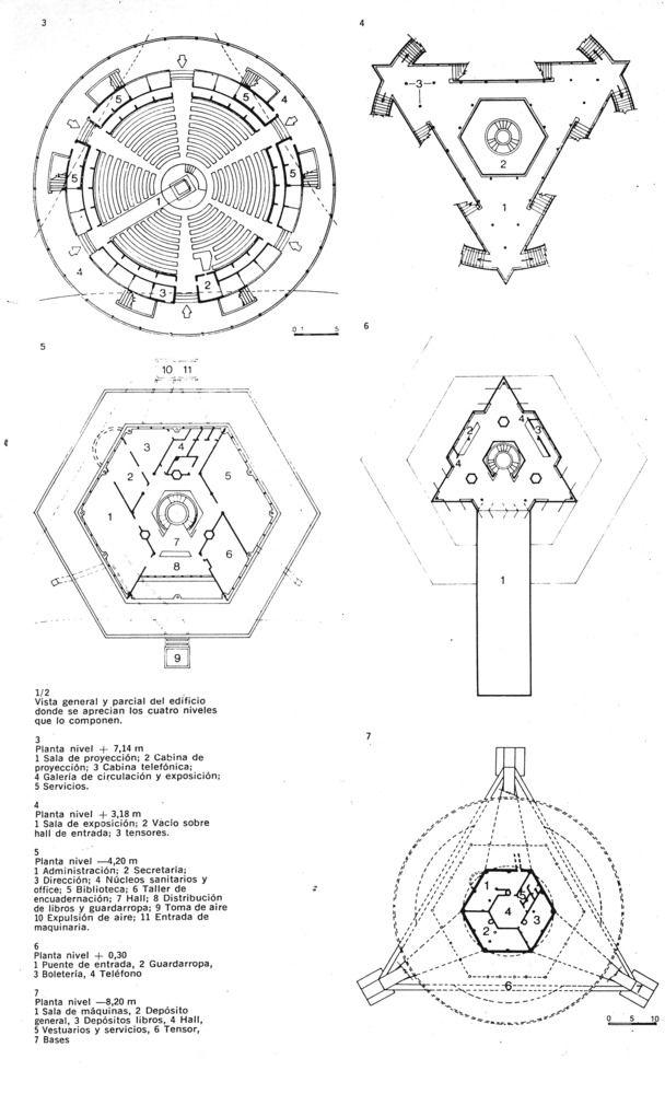 Clássicos da Arquitetura: Planetário Galileo Galilei,Plantas Gerais / Cortesia de Planetario Galileo Galilei