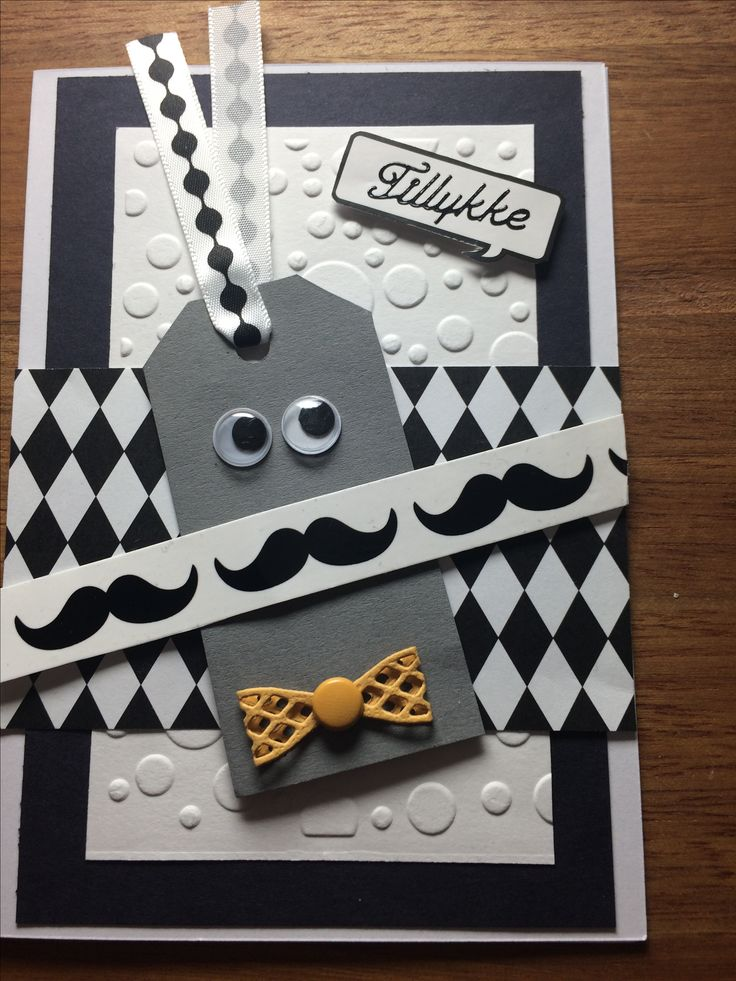 Mand / Mann Skæg / Beard Butterfly Black and White Manilamærke Kort / card