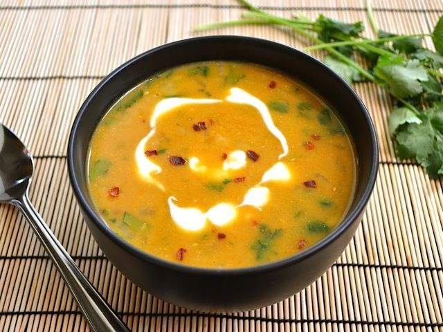 Spicy Coconut & Pumpkin Soup -  If you're looking for an easy side dish to an Asian, Indian, or Middle Eastern flavored meal, this will do the trick. Nice step by step photos - Use regular coconut milk, not the lite, as suggested in recipe! / Budget Bytes