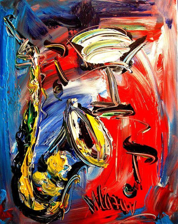 Abstract JAZZ Painting Original Heavy Texture Impasto by kazavart