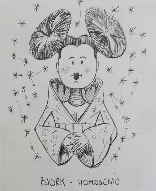 Music Cover parody pt 7 Bjork - Homogenic Sketching idea for acrylic Paint  #Bjork #homogenic #electro #punk #funky #ibrid #chinese #chinadress #minnie #mickeymouse #inktober #inktober2016 #doodle