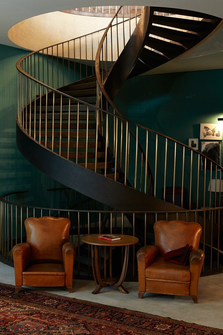 Staircase from Aliss Restaurant at Soho House Istanbul, Turkey. Photo by: Tim Evan Cook