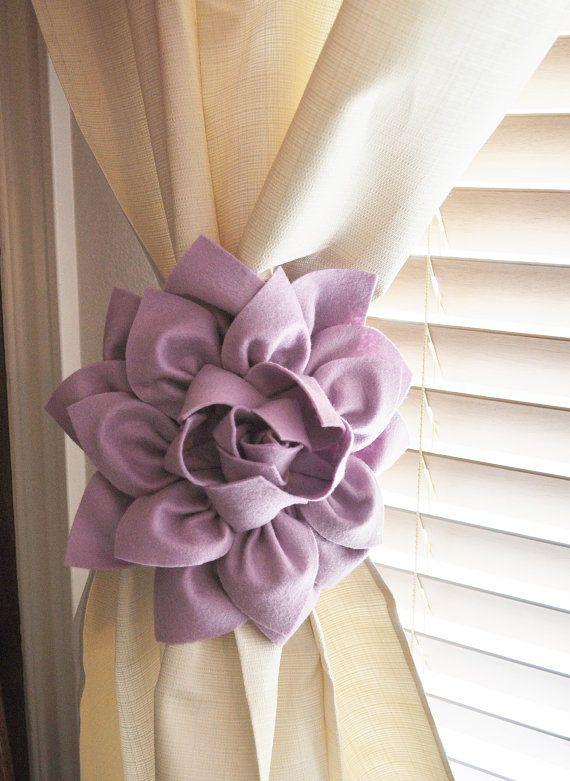 TWO Dahlia Flower Curtain Tie Backs Curtain Tiebacks Curtain Holdback   Drapery Tieback Baby Nursery Decor Lilac Decor