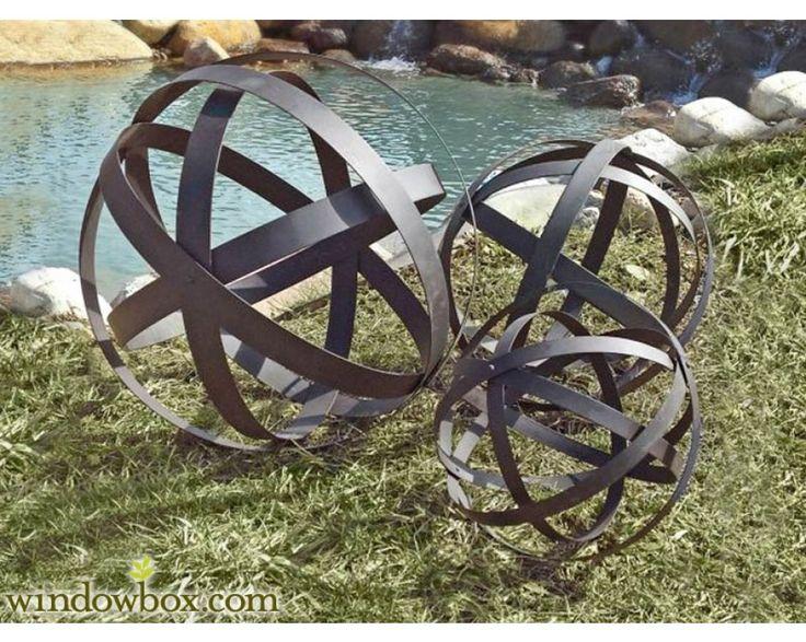 Brown Metal Garden Spheres, Set Of 3   Garden Trellises   Garden  Decorations   Windowbox