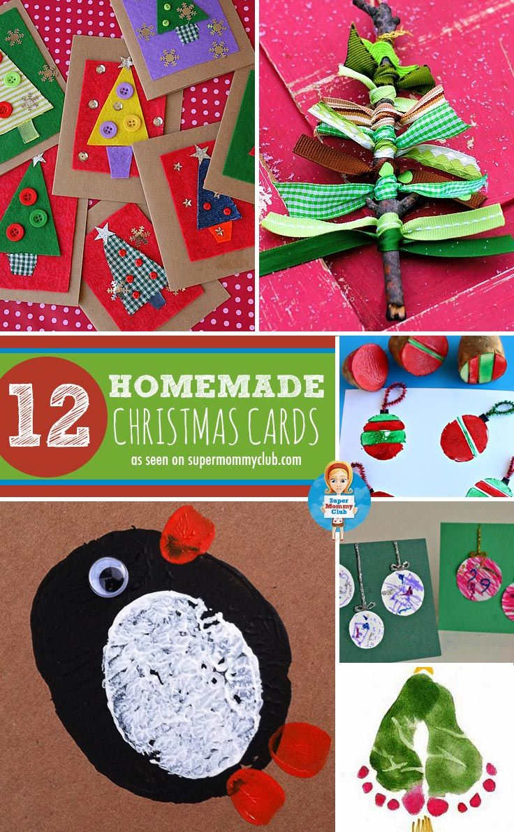 Adorable homemade christmas cards for kids to make for for Handmade christmas card making ideas