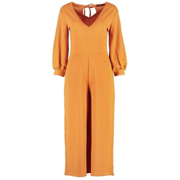 Boohoo Gem Short Puff Sleeve Culotte Jumpsuit ($18) ❤ liked on Polyvore featuring jumpsuits, boohoo jumpsuits, orange jumpsuit, orange jump suit, jump suit and short jumpsuits
