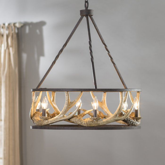 Los Angeles 6 Light Candle Style Wagon Wheel Chandelier Antler