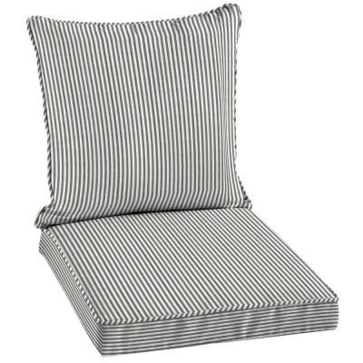 Sailor Blue Pinstripe Welted 2 Piece Pillow Back Outdoor Deep Seating Cushion  Set