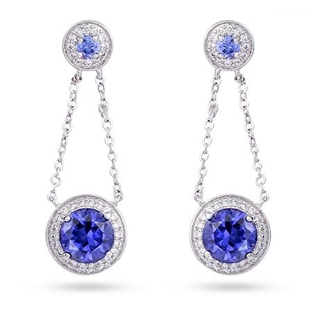 Sterling Silver Chain Link #Tanzanite Drop #Earrings $106   #jewelry #bridal #wedding