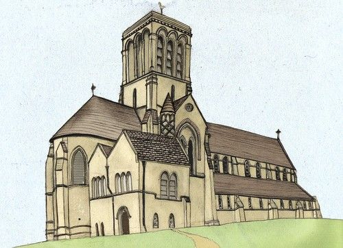 Kingston Church - illustration for Writing on Stone - Purbeck quarry industry learning pack