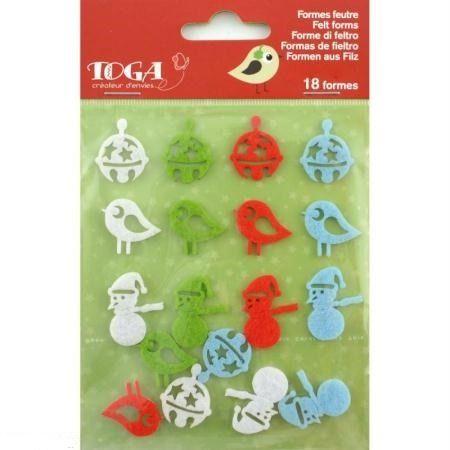 Forme de Noël en feutrine adhésive Les amis du Père Noël x18 : Stickers, autocollants par petit-monde