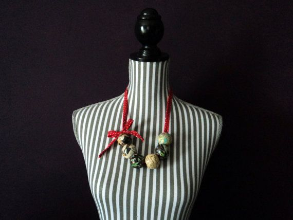 Statement Bead Necklace comic map book page polka by MSquaredSA