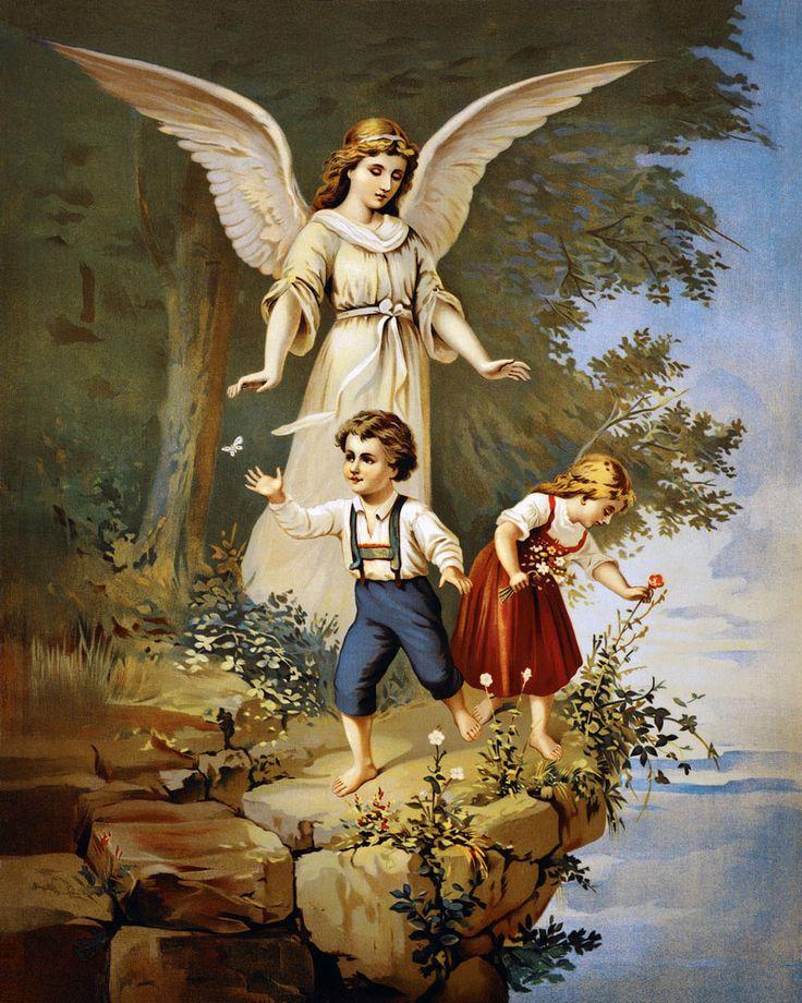 Открытка ангел хранитель с детьми